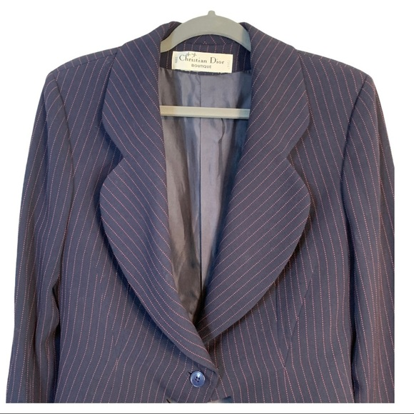Vintage Christian Dior Navy & Red Pinstripe Suit